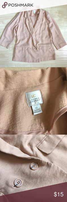 Lauren Conrad   Blush Pink Blazar Blush pink blazer from LC Lauren Conrad. Perfect to wear for casual business attire. It is thin. Slit on the back for comfort and design. Made 90% rayon and 10% nylon. LC Lauren Conrad Jackets & Coats Blazers