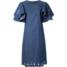 DressCamp embroidered star ruffled denim dress ($435) ❤ liked on Polyvore featuring dresses, blue, denim ruffle dress, blue denim dress, blue embroidered dress, embroidery dresses and flouncy dress