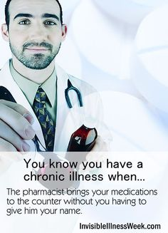 You know you have a chronic illness when... The pharmacist brings your medications to the counter without you having to give him your name. (Links to Invisible Illness Awareness Week and more funnies)