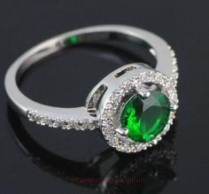 Zircon, Green Quartz,Silver,Solitaire/Accents,Ring Size 7 USA, Valentine,Giftbox #silvestromedia #SolitairewithAccents