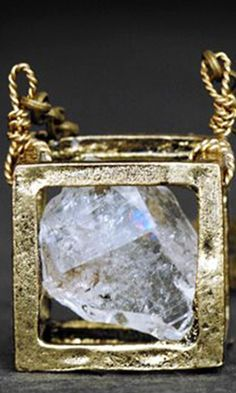 "Christina Rose Jewelry - RAW DIAMOND NECKLACE - Floating Cube Pendant, Vintage Gold 24"" Chain"