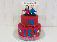 Tarta Fondant celebración 18 años nuestra web www.pasteleriachezglace.es