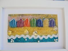 Sun, Sand and Beach Huts! - Needle-felt Picture in White Box Frame by ThePaintingTree on Etsy  *SOLD*