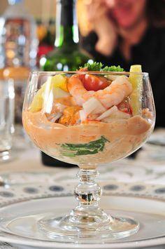 des verrines de cocktail de fruits de mer