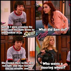 Sam and Cat Scene Victorious Nickelodeon, Icarly And Victorious, Stupid Funny, Funny Jokes, Hilarious, Funny Stuff, Funny Things, Random Stuff, Old Disney Channel