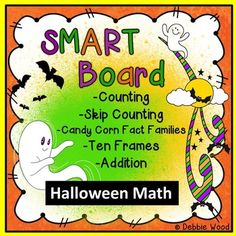 This unit includes 58 SMART Board slides.  Your kindergartens and first graders will have plenty of practice with counting, skip counting by 2s, 5s and 10s. They will also practice their math fact families to 10 with the Fun Interactive Candy Corn Math Facts.