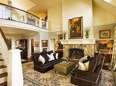 Stone fireplace, color palette, open space - lovely