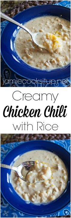 Creamy Chicken Chili with Rice from Jamie Cooks It Up! Loaded with fabulous flavor and a creamy texture that is divine, this chili is a wonderful easy dinner time solution.