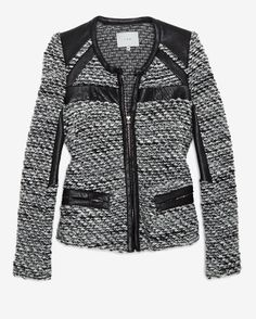 Iro Tweed and Leather Jacket from Intermix