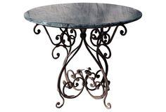 One Kings Lane - Alfresco Fete - Iron Table w/ Green Marble Top