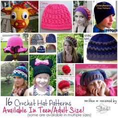 16 Crochet Hat Patterns - Available in Teen and Adult Size! - Stitch11