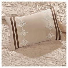 Beige Camila Quilted Comforter Set (Queen) 9pc