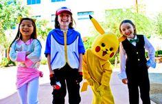 Pokemon Trainers (Iris, Ash, Picachu and Cilan).