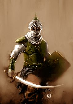 I'd like to do a back tattoo with an ancient warrior from every culture. Islamic World, Islamic Art, Fantasy Character Design, Character Art, Muslim Tattoos, Imam Hussain Wallpapers, Army Colors, Anime Muslim, Warrior Tattoos