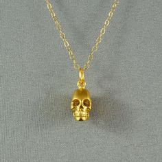 3D Hollow Skull Necklace 24K Gold Vermeil by WonderfulJewelry, $30.00