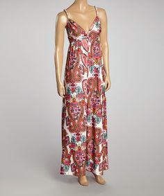 Another great find on #zulily! Pink & White Arabesque Maxi Dress by Prime Garments #zulilyfinds
