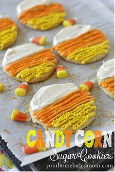 Candy Corn Cookies @yourhomebasedmom.com #cookies #fallrecipes  #candycorn