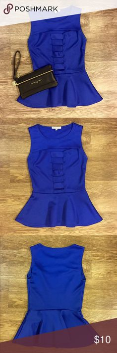 Royal Blue Peplum Top Royal Blue Peplum Top! Perfect for a girls night out! Charlotte Russe Tops