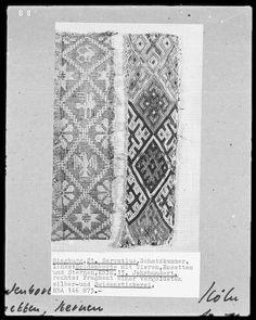 Fragment von einer Seidenborte mit Tieren, Rosetten und Sternen | kölnisch | Bildindex der Kunst & Architektur