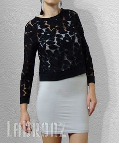 Lace top- would look much better over a black or nude sheath instead of white $69.  I love the lace design though