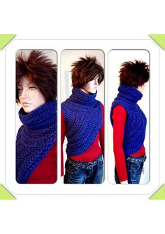 Katniss Inspired Hand Crocheted Cowl. Blue Crochet by Africancrab, $85.00