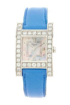 Chopard Women's H-Watch Diamond Watch with Blue Lambskin Strap