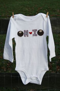 """This reminds me of my cousin Faith who lives in Ohio-she & her daughter Grace showed me how to make """"buckeye"""" cookies  Buckeye OHIO onesie state of OHIO love unique baby gift by klzart, $21.50 -- Love this!!"""