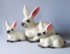 Vintage Ceramic Garden Ornament Bunny Rabbits