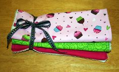 Pink Cupcakes Baby Burp Cloth Set of 3 by Amandamaetucker on Etsy, $15.00