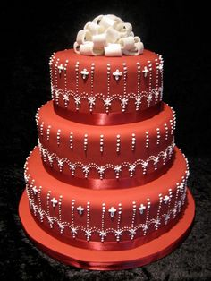 simply elegant inexpensice wedding cake ideas | Beautiful Bridal: Red and White Wedding Cakes