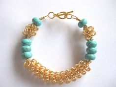 Gold plated wire and stabilsed Turquoise. £6.50