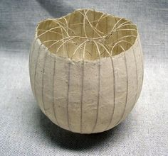 Kay Sekimachi paper bowl with strings