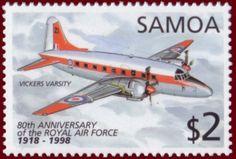 Stamp: Vickers Varsity (Samoa) (Royal Air Force, 80th Anniversary) Mi:WS 883,Sn:WS 959