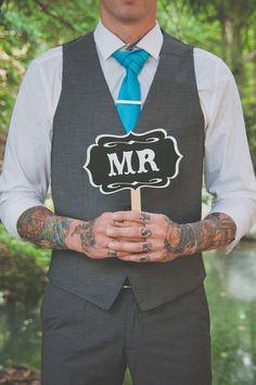 Yellow, Teal and Silver Themed Backyard Wedding: Jess & Rob mr-sign groom tattoo