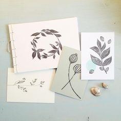block printed journals and small art prints, hand drawn botanical postcard - modern botanics