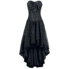 """""""Mollflander"""" -klänning med korsett-topp   -blommig spets  -dragkedja i sidan  -fodring: 100% bomull  -längd framtill: 80 cm, längd baktill: 109 cm"""