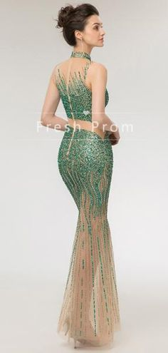 Mermaid High Neck Sleeveless Tulle Floor Length Prom Dresses With Full Fitted Prom Dresses, Strapless Prom Dresses, Prom Dresses With Sleeves, Tulle Prom Dress, Mermaid Prom Dresses, Fall Dresses, Summer Dresses, Formal Dresses, Chiffon Dresses