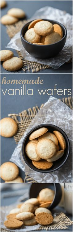 Homemade Vanilla Wafers-So Simple To Make, And They Taste Even Better Than The Original Light, Buttery, And Full Of Fragrant Vanilla, With A Texture That Almost Melts In Your Mouth. Mini Desserts, Delicious Desserts, Yummy Food, Homemade Desserts, Vanilla Desserts, Party Desserts, Homemade Food, Weight Watcher Desserts, Baking Recipes