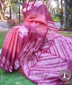 Clamp Dyed Kosa Tussar Silk Saree