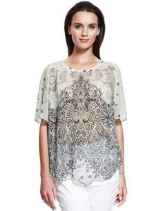 Autograph Floral Lace Print Drape Blouse-Marks & Spencer