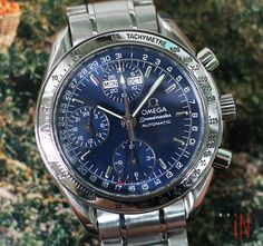 """Precious Blue Hues!"" #Omega 39mm #Speedmaster Day Date Chronograph Ref#: 3523.80.00 * Stainless Steel, circa 1998 http://www.elementintime.com/Omega-Speedmaster-3523.80.00-Stainless-Steel-Day-Date-Chronograph-39mm-Blue-Dial"
