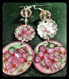 Pink and black flowered shrink plastic earrings