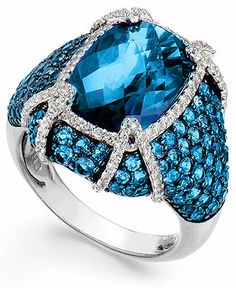 Sterling Silver Blue Topaz (11-1/10 ct. t.w.) and White Topaz (1/2 ct. t.w.) Ring