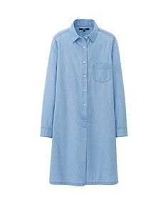 WOMEN DENIM LONG SLEEVE SHIRT DRESS Keep things natural with this denim shirt dress made of 100% soft, light cotton. A loose silhouette design provides a comfortable fit.