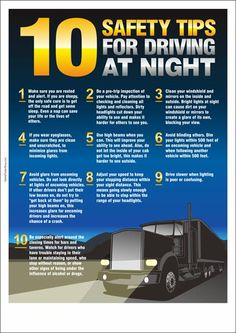 Transportation Safety Posters – Safety Poster Shop – Page 3 Safe Driving Tips, Truck Driving Jobs, Driving Teen, Driving Safety, Driving School, Night Driving, Road Safety Tips, Car Facts, Car Care Tips