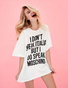 I don't speak Italian but I do speak moschino t shirt Celine, Ysl, Mode Editorials, Fashion Editorials, Christian Dior, Vogue, Swimwear Cover Ups, Editorial Fashion, Fashion Trends