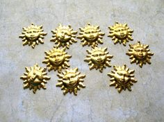 Sun Stampings  Sun Charms  Brass Charm Lot  by 2VintageGypsies