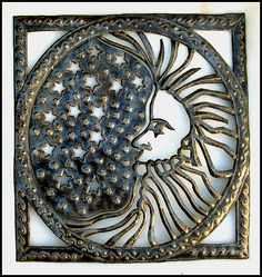 "Unique Moon Metal Art Design - Handcrafted in Haiti - 22"" x 24"" $82.95 -  Steel Drum Metal Art from  Haiti - Interior Decor or Garden Décor  - Moon Metal Wall Hanging - Moon Home Décor - Metal Home Décor     * Found at  www.HaitiMetalArt.com"