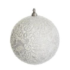 NorthLight Sparkling Whites Beaded Lace Christmas Ball Ornament - 4. 75 inch