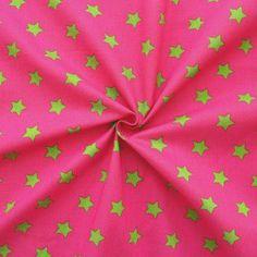 100% Baumwollstoff bedruckt  Sterne Groß  Farbe Pink-Grün